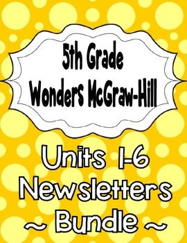 "These newsletters/study guides are based on the 5th grade Wonders McGraw-Hill reading series.  This is a weekly newsletter to send home with your students or add to their interactive reading notebooks.  Each week's newsletter is one page and includes the following:-Weekly Concept-Essential Question-Vocabulary words defined-Spelling words (separate newsletters for both ""on level"" and ""beyond level"" words are included)-Genre (with brief notes)-Comprehension Skill (with brief notes)-Vocabulary"