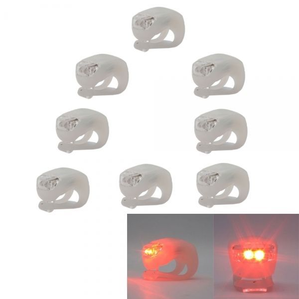 shopifyl V, Red LED Light White Silicone Bicycle 8X Waterproof Double: Bid: 18,98€ (£16.88) Buynow Price 18,03€…...