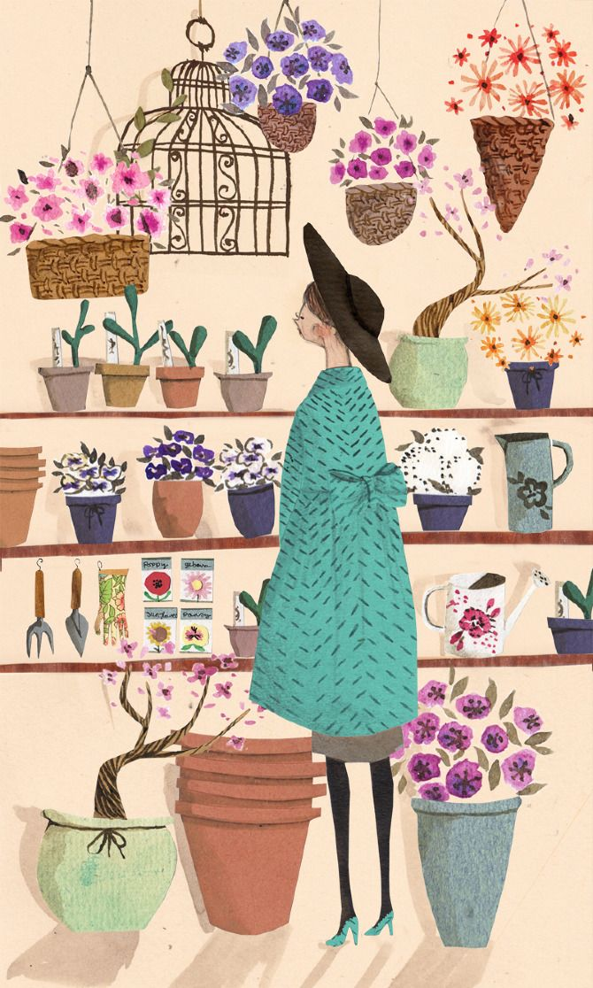 : Emmablock, Illustrations, Flower Shops, Flowershops, Garden, Drawing, Art Illustration