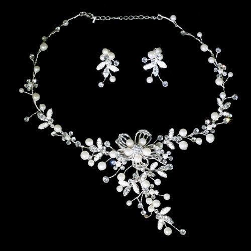 Wedding necklace set pearls and crystal jewelry by PearlyBrides