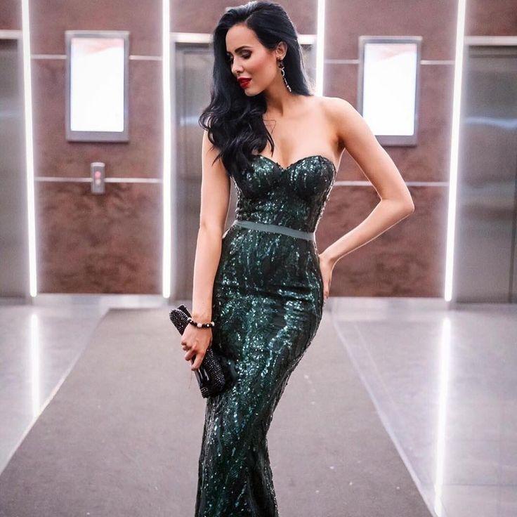 Elle Zeitoune - Gina Gown  Emerald | Sequins | Sequinned | Strapless Sweetheart Neckline