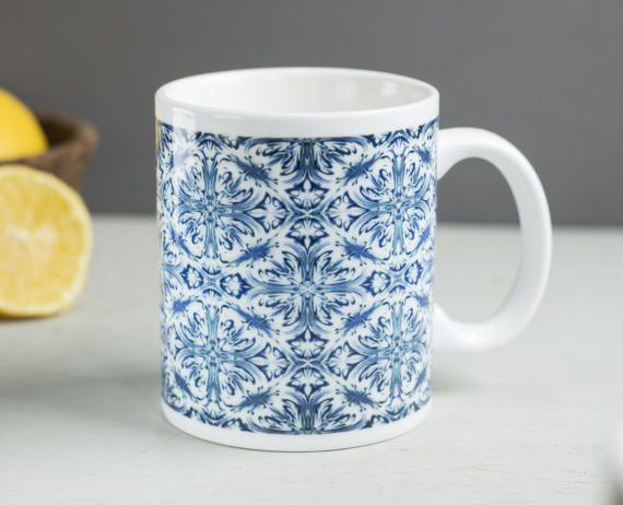 Pretty mug blue and white mug Delft mug monochrome by DoodlePippin