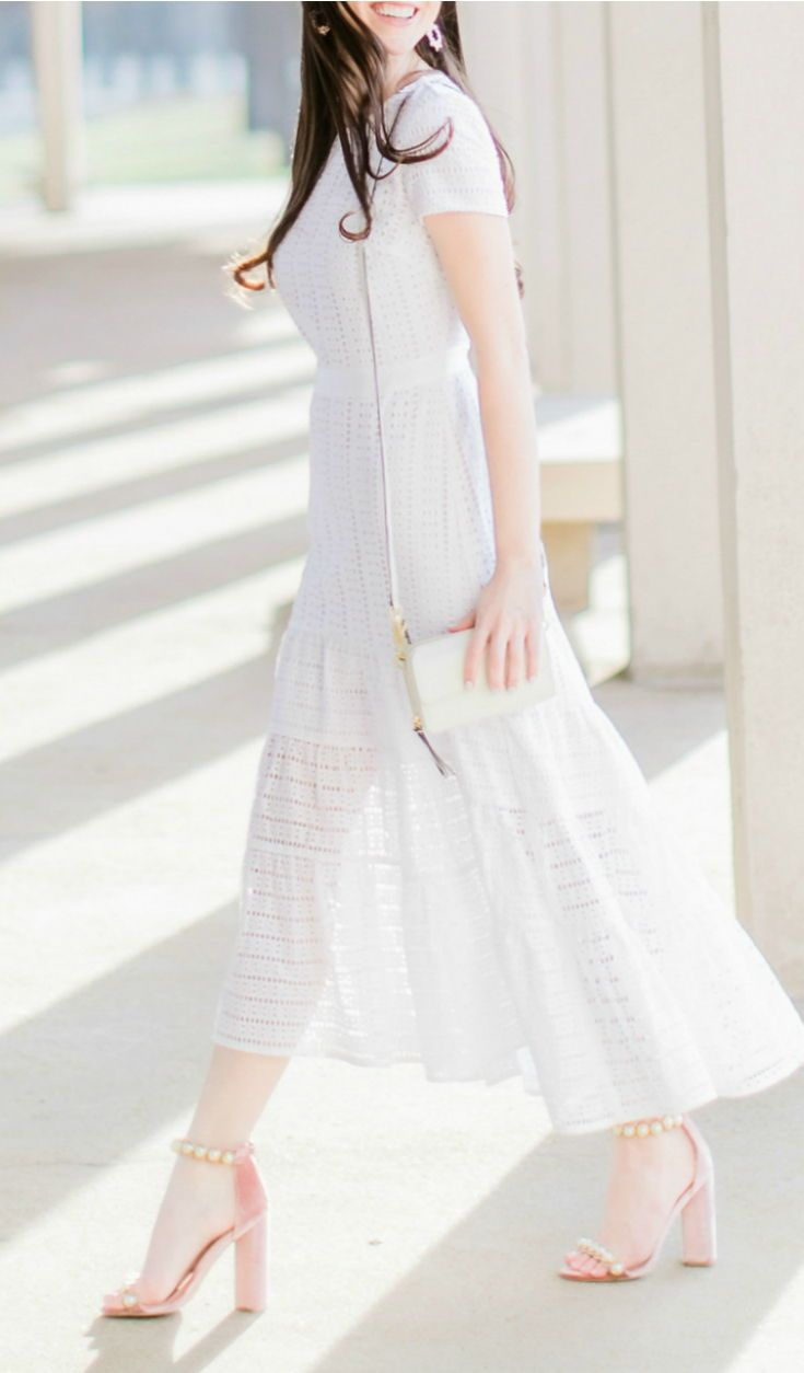 4be3bc2a0 All white Easter brunch outfit idea | Banana Republic white eyelet midi  dress with Qupid blush pearl sandals, white Vera Bradley RFID Crossbody, ...