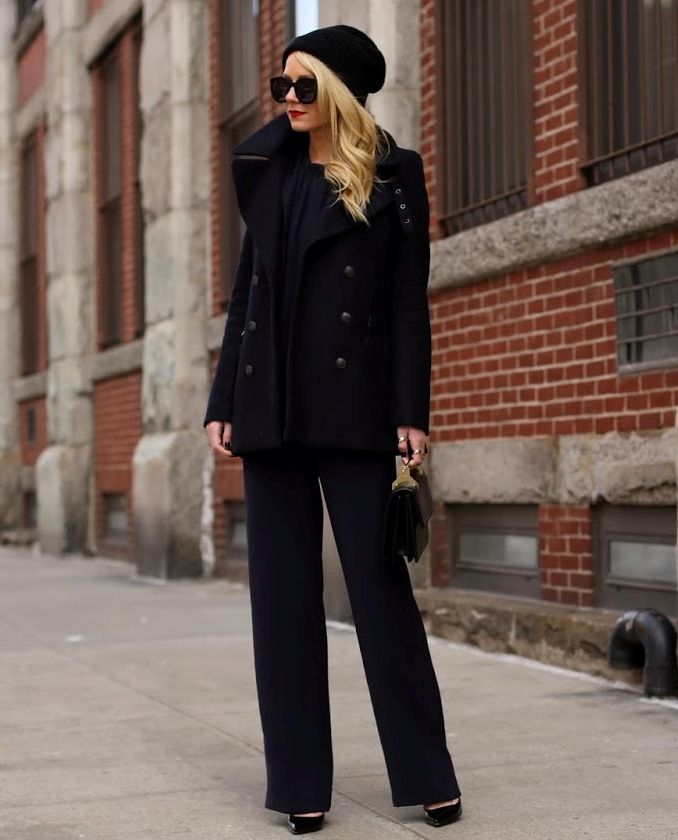 chic all black 2017 outfit with beanie