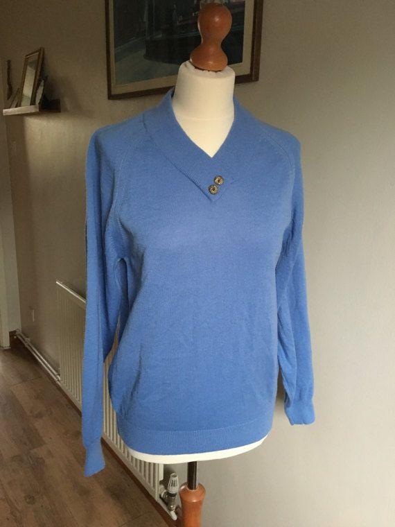 Vintage Blue Jumper V neck  Size 12/14  knitted buttons