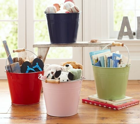 Note to self: You want to buy Axel one of these Pottery Barn Kids buckets,with his name on it and hang it on the wall where he can easily reach it.