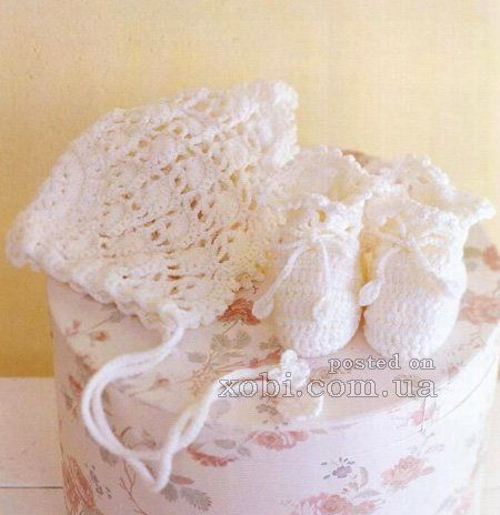bonnet and booties crocheted