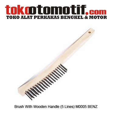 Brush With Wooden Handle (5 Lines) M0005 BENZ - sikat kawat  Kode : 130310 Nama : Brush With Wooden Handle Merk : BENZ Tipe : (5 Lines) M0005 Berat Kirim : 1 kg  #sikatkawat #wirebrush #sikatbaja #hargasikatkawat