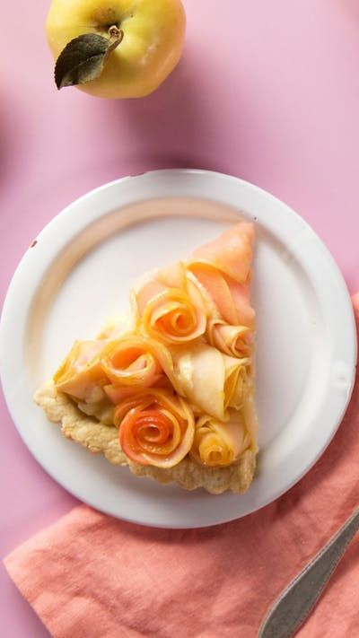 The colorful pink hue of the Pink Pearl apple makes for one stunningly beautiful rose tart.