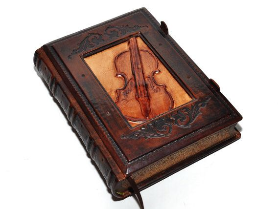 Leather journal Vintage Violin 6.5x9.1 16.5x23cm by dragosh