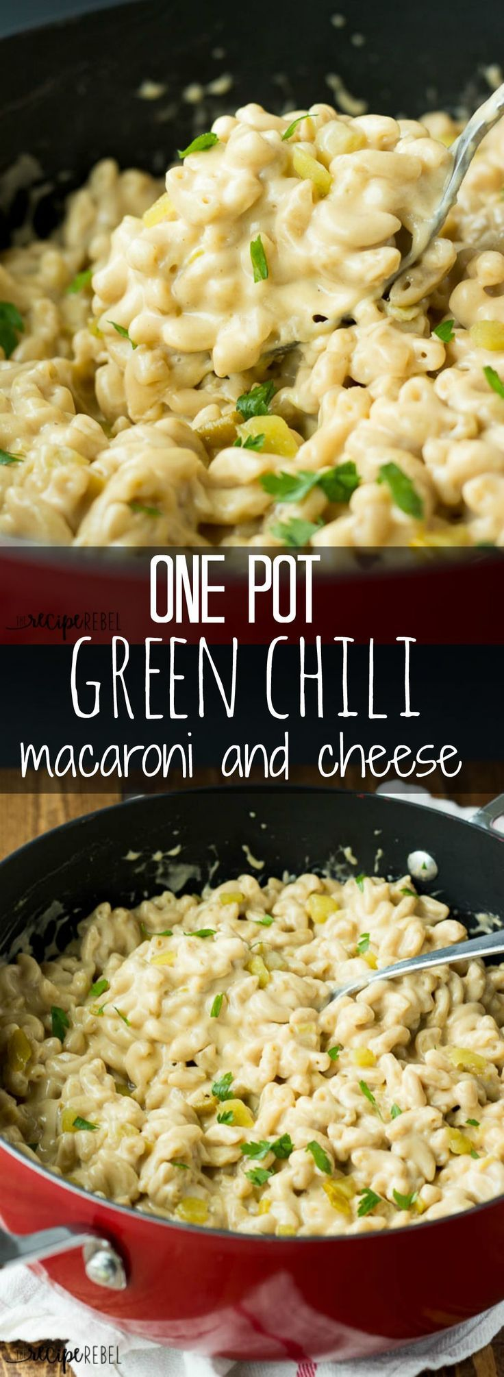 Easy One Pot Green Chile Macaroni and Cheese - A super creamy macaroni and cheese with a bit of kick from green chiles! Only 6 ingredients, one pot and 20 minutes!