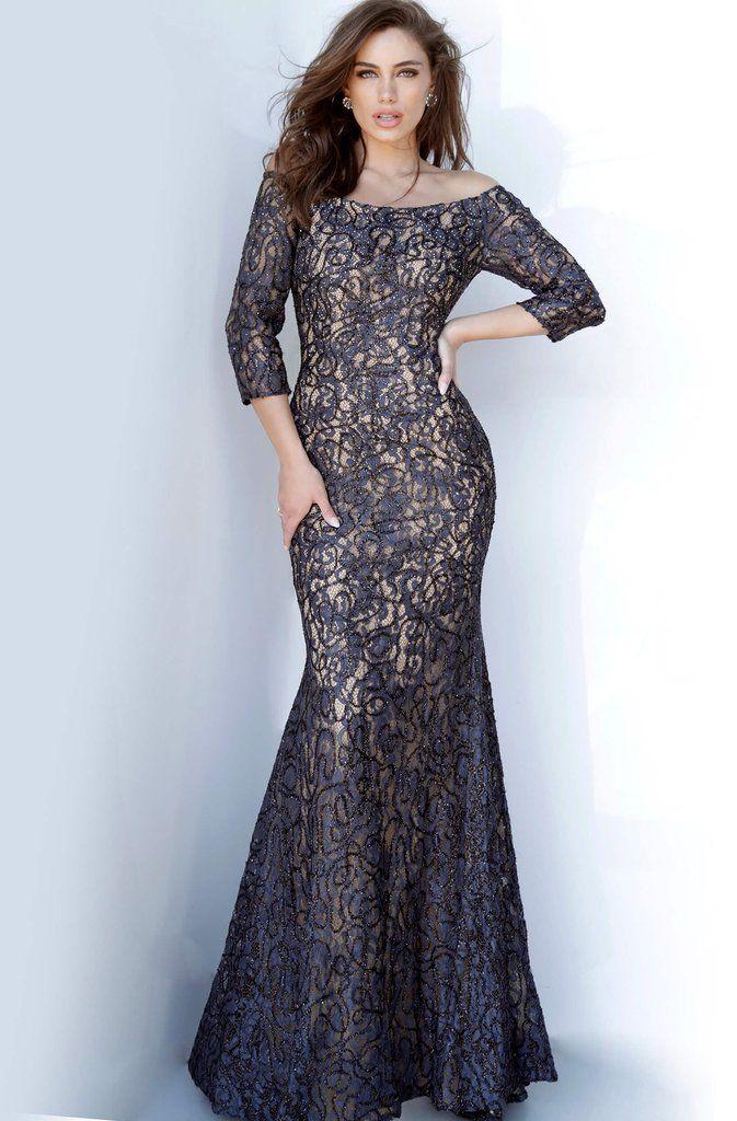 Jovani - 2900 Off-Shoulder Beaded Lace Trumpet Dress | Off ...
