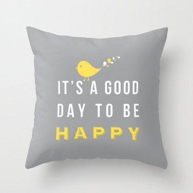 Happy pillow -  Decorative throw pillows grey yellow white pillow cover home decor ornament and decoration housewares. $35.00, via Etsy.
