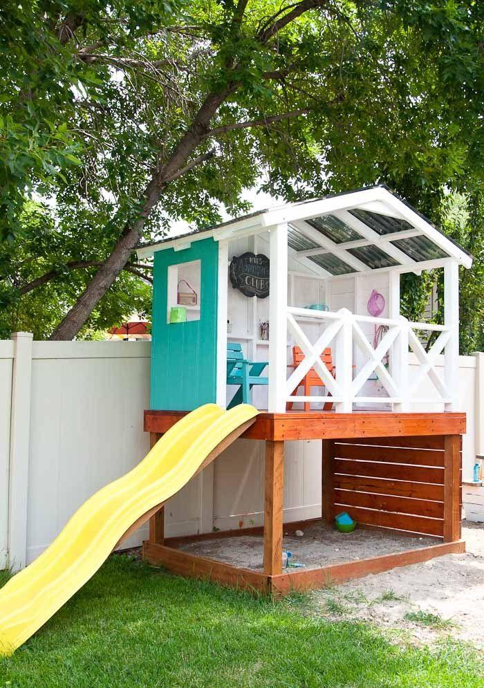 5cadea65cd kinderspielhaus holz auf Stelzen mit Sandkasten Eigenbau #house #garden