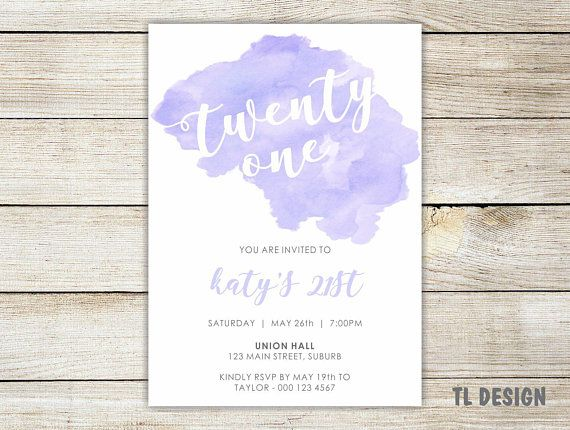 21st Birthday Digital Invitation - Watercolour Stain Invite - Pink, Blue, Lilac or Gold - print your own invite