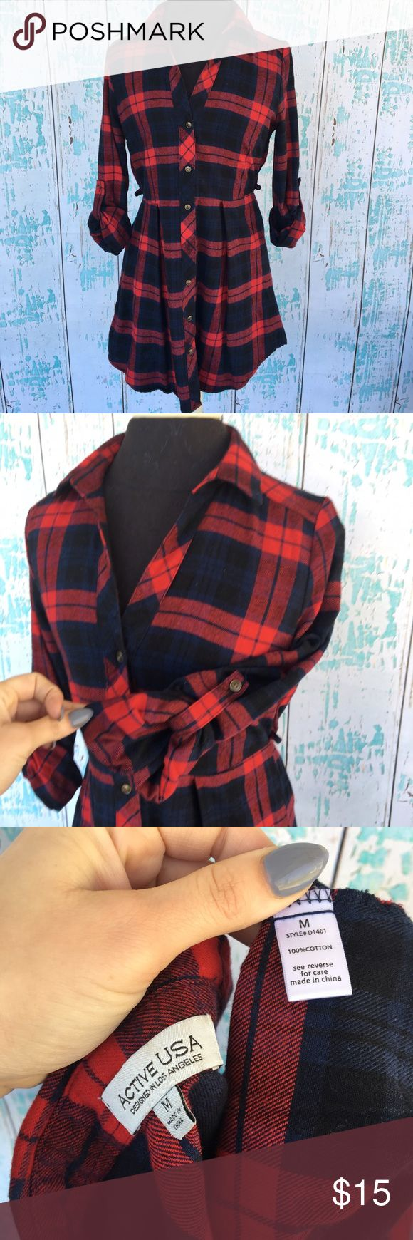 Active USA red flannel tunic dress size medium Active USA red flannel tunic dress size medium. Missing the brown belt that came with but can use another or cut off the side loops. Active USA Dresses Mini