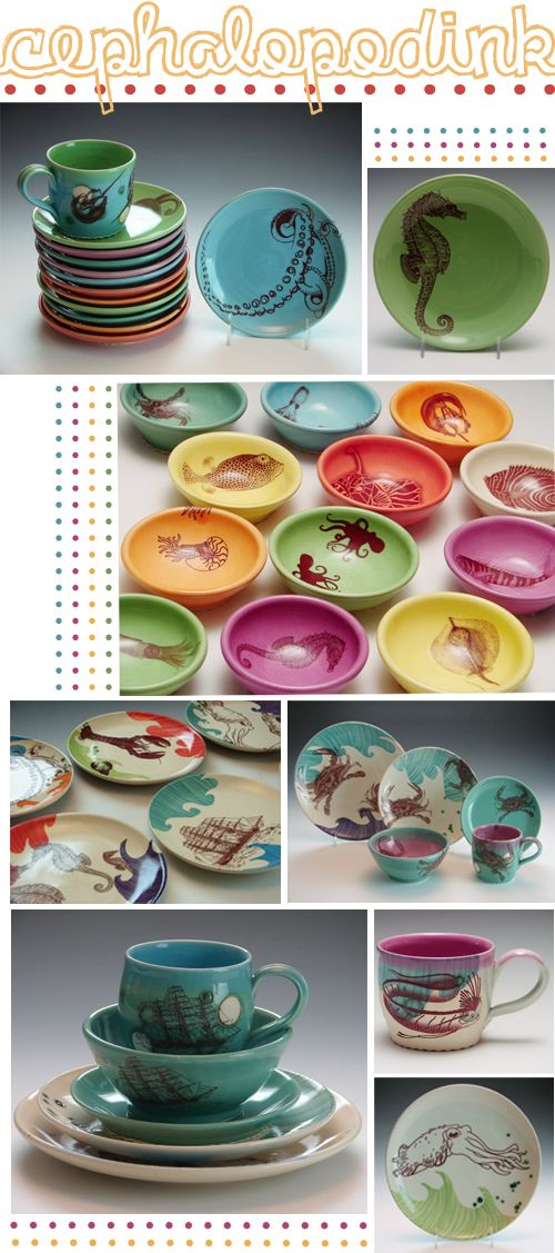 Colorful nautical dishes....Ill take one of each please!