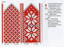 Носки и варежки связанные жаккардовым узором
