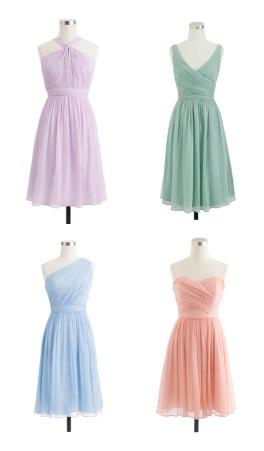 Pastel J Crew dresses. Pretty for bridesmaids