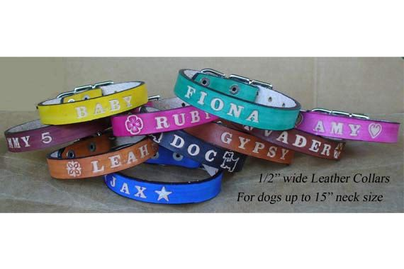 Puppy Collars Personalized  - Leather puppy collar on Etsy, $12.00