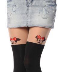 Bayan ince minnie desenli dövmeli külotlu çorap
