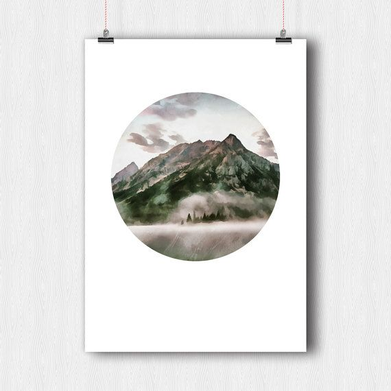 Digital poster Mountains Printable Art  Drawing on от YouniART