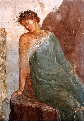 Detail from Daedalus and Icarus fresco, villa imperiale, Pompeii.