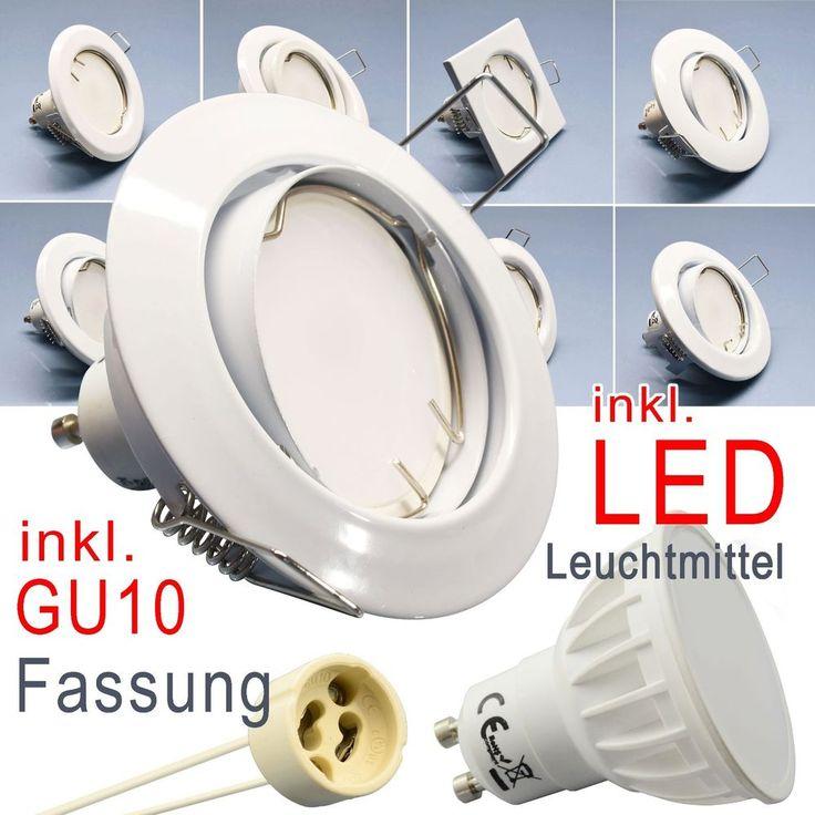 LED Glas Einbaustrahler Rahmen GU10 Fassung 6-Pack 230V Spot Eckig Einbauleuchte