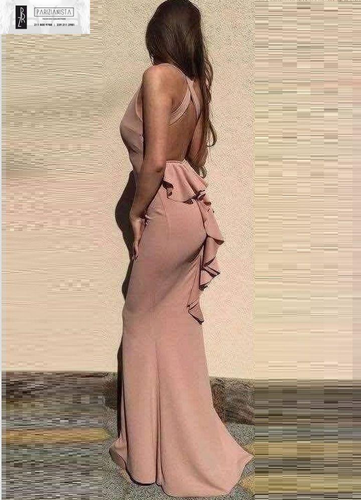 3009-Ροζ maxi φόρεμα με βολάν ουρά