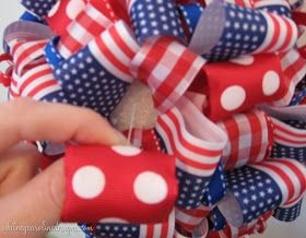 Whitney Caroline Designs: Patriotic Polka Dots & Ribbon Topiary How-To