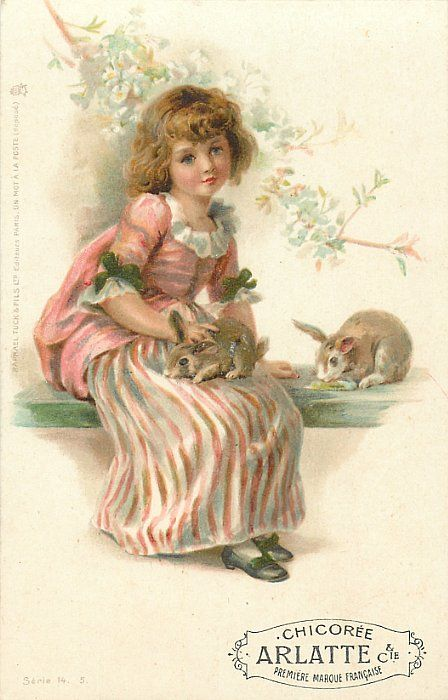 Ellen Welby - English - (1851-1936) postcard dated 1901 - Series called Happy Childhood