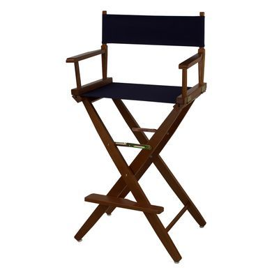 30 Quot Director S Bar Stool Brown Frame With Navy Canvas