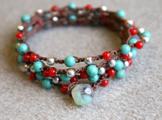 Turquoise silver red boho crochet wrap bracelet or by OlenaDesigns