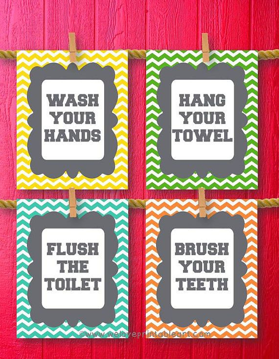 chevron bathroom set. You will receive all FOUR printable bathroom rules art signs featuring  orange yellow green and aqua chevron Rules include Wash Your Hands Brush Best 25 Chevron decor ideas on Pinterest