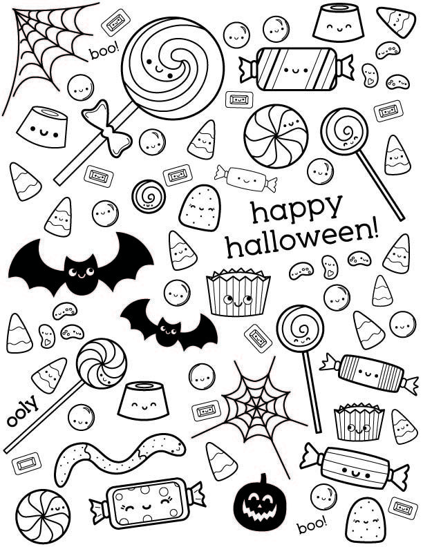 Halloween Coloring Page With Cute Candy Halloweencoloringpages Uncolored Happ Halloween Coloring Pages Halloween Coloring Pages Printable Candy Coloring Pages