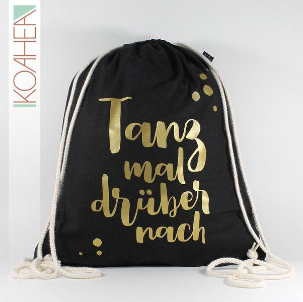 Turnbeutel - Sportbeutel TANZ MAL schwarz - kupfer gold silber - ein Designerstück von KOAHEA bei DaWanda