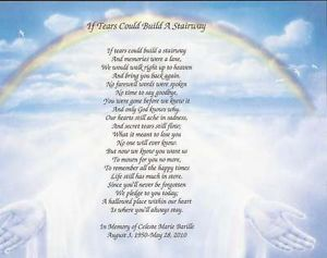 "Details about Personalized Memorial Poem ""If Tears Could ..."