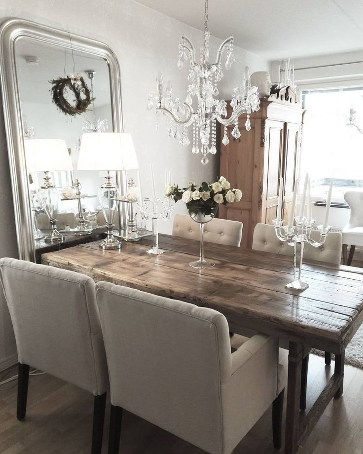 Old Wooden Table Beautifully Glittering Crystal Light And High Mirror L Farmhouse Dining Room Dinning Room Tables Farmhouse Dining