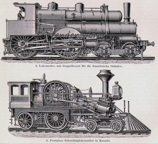 Locomotive Train Steam Engines Engineering Chart Edwardian Germany For Framing 1906