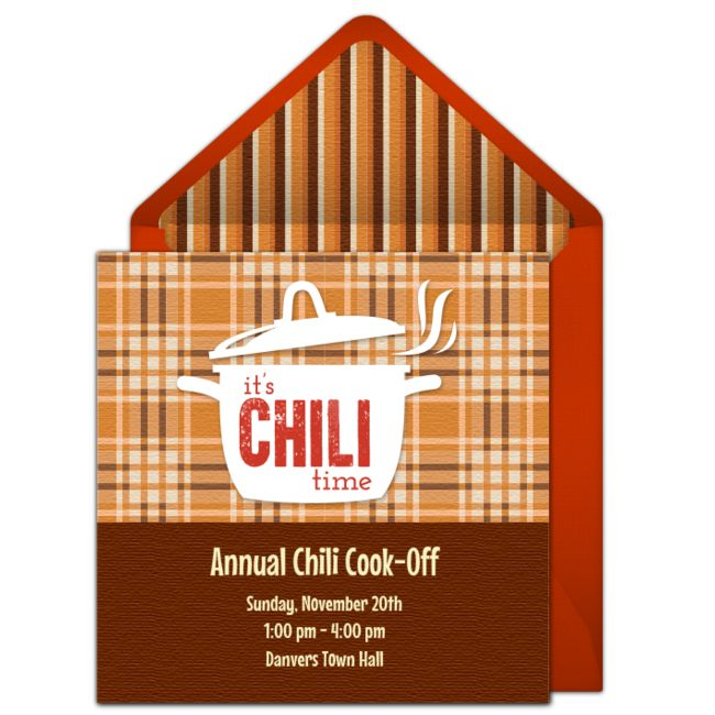 Customizable, free Chili Cook-Off online invitations. Easy to personalize and…