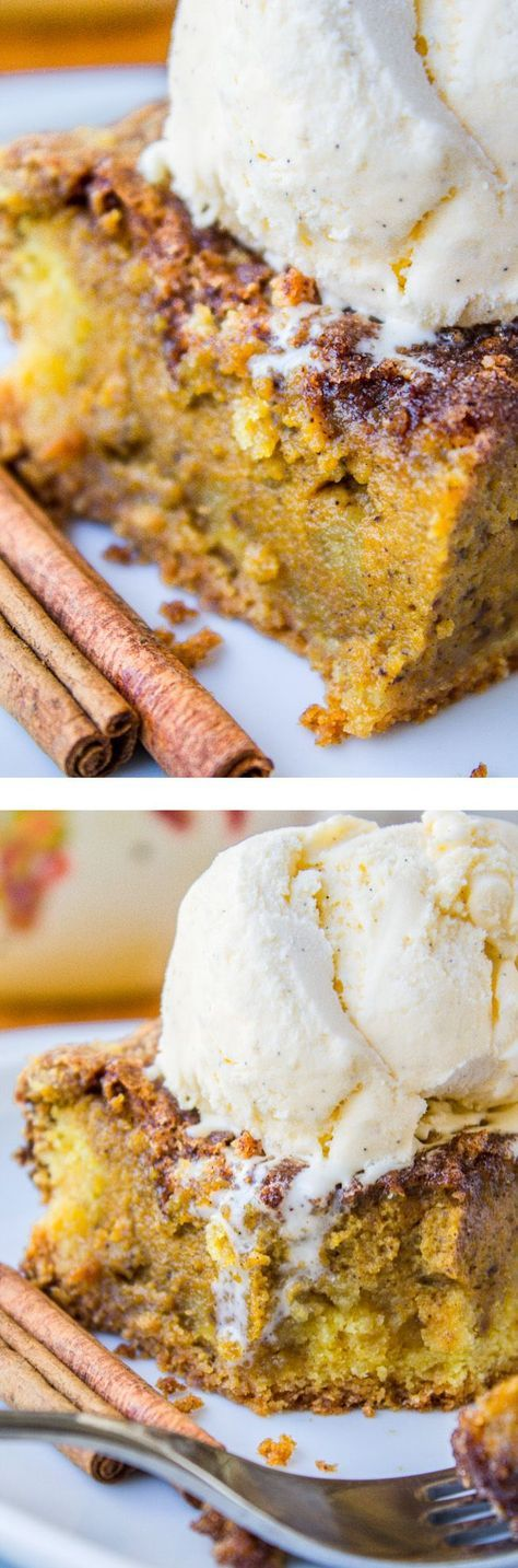 Easy Pumpkin Pie Cake -- This super easy cake gives you the satisfaction of a pumpkin pie but without having to deal with crust-rolling #thanksgiving #pumpkin #cinnamon