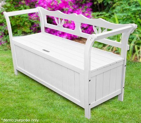 White Garden Bench Storage