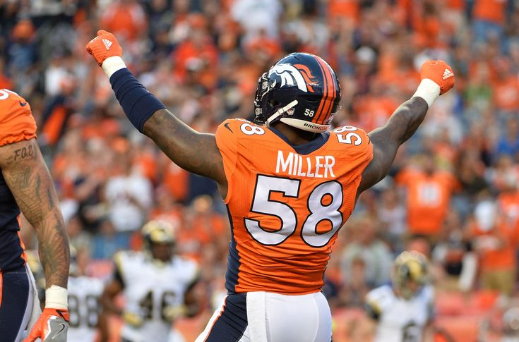 Aug 27, 2016; Denver, CO, USA; Denver Broncos outside linebacker Von Miller (58) reacts to his sack of Los Angeles Rams quarterback Sean Mannion (14) (not pictured) during the first quarter of a preseason game at Sports Authority Field at Mile High. (3123 https://www.fanprint.com/licenses/los-angeles-rams?ref=5750