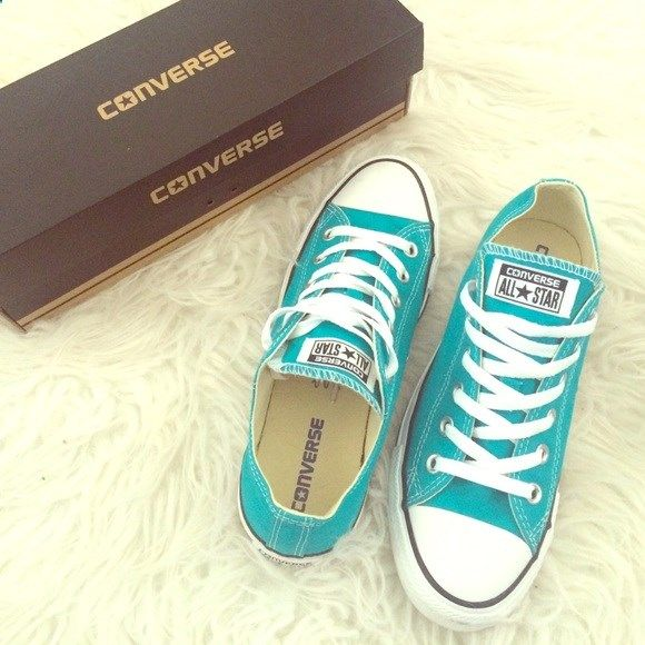 New Teal Converse New teal Converse with box, excellent condition. Mens 6/womens 8. Converse Shoes Sneakers