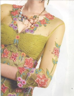 The chest part be open models with color-full flower decoration. Design by: Jeany Ang