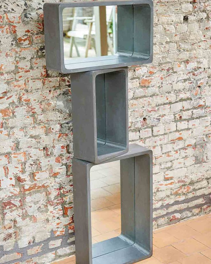 Rectangular Wall Mirror with Shelf in Concrete Finish, Small