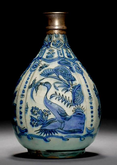 A Safavid Blue and White Bottle Vase, Persia, 17th Century .