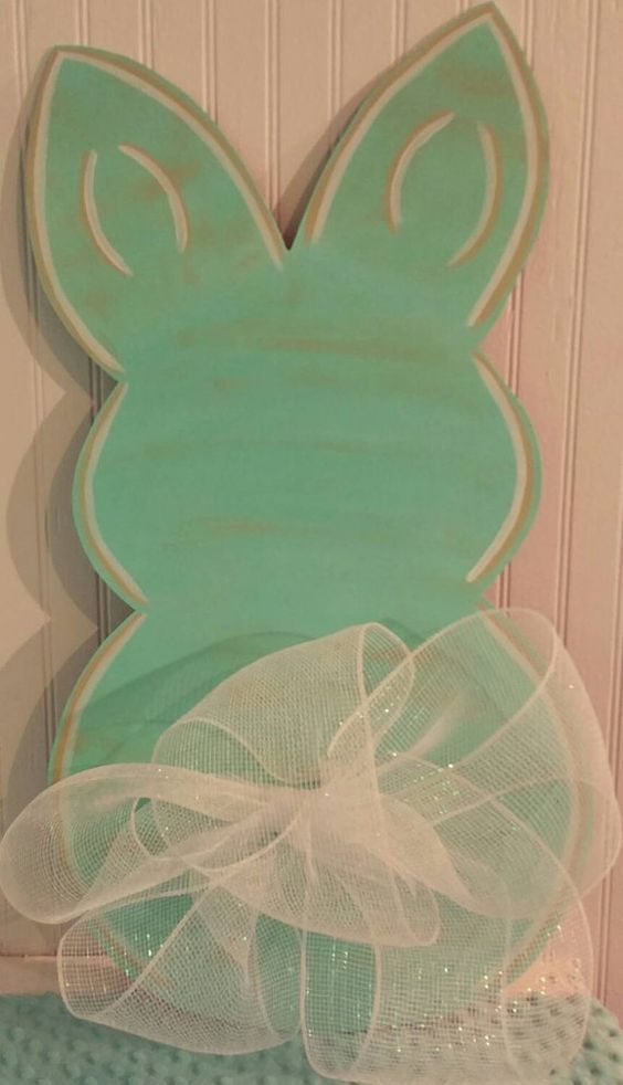 Easter Bunny Shabby Chic Wooden Door Hanger Sign by MBPandMore