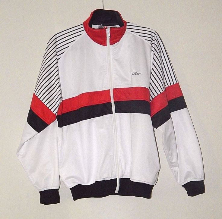 Vintage Wilson Sports Apparel Tennis Track Warm Up Jacket Size L Red/White/Black #Wilson #TracksuitsSweats