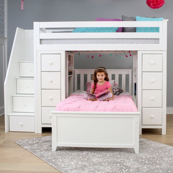 Ayres Twin L Shaped Bunk Bed With Drawers And Shelves Bunk Beds With Stairs Small Spaces Bunk Bed Bed For Girls Room